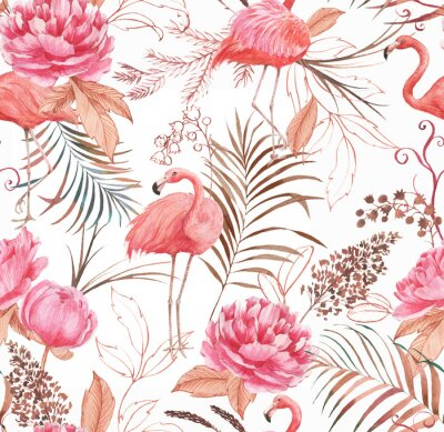 Wall mural Hand drawn watercolor seamless pattern with pink flamingo, peony and decorative plants. Repeat background illustration