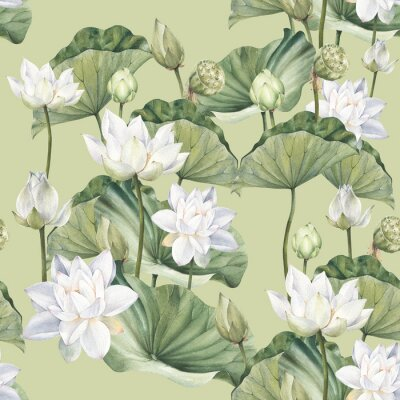 Wall mural Hand drawn watercolor seamless pattern with white lotus flowers and lotus leaf
