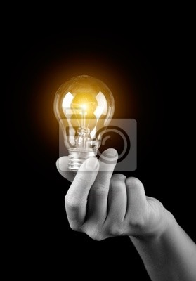 Wall mural Hand holding light bulb isolated on black