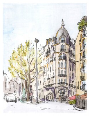 Wall mural Hand painted color sketch of Paris street