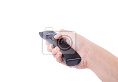 hand with multimedia tv remote control isolated on white