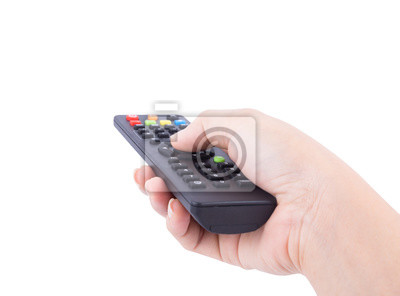 hand with tv remote control isolated on white