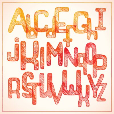 Wall mural Hand writing red alphabet
