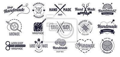 Wall mural Handmade badges. Hipster craft badge, vintage workshop labels and handcraft logo. Logotype workshop, hand made craft insignia tag or authentic ink sticker. Isolated icons vector illustration set