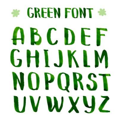 Wall mural Handmade ink green alphabet.