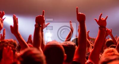 Wall mural hands up at rock concert