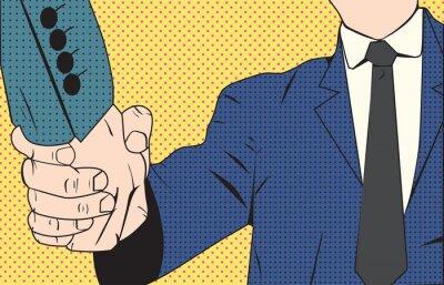 Wall mural Handshake businessman retro style pop art