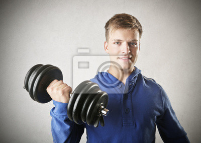 hansome young man who is training