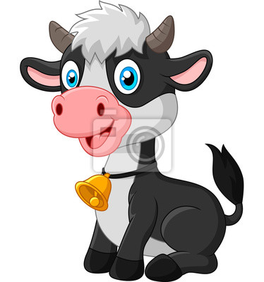 Happy baby cow sitting on white background
