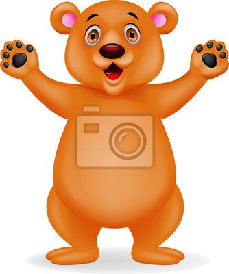Happy bear waving hand
