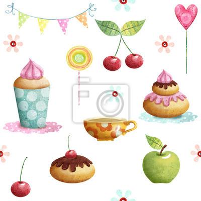 Happy Birthday pattern made of cupcake,cherry, apple, candies