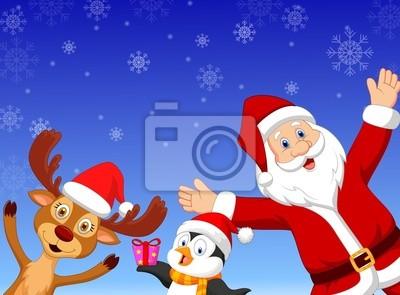 Happy cartoon Santa, penguin and deer