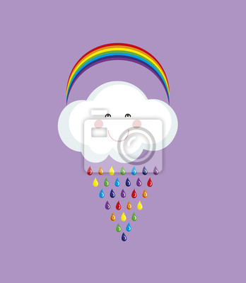 Happy cloud with colorful rain drops.Rainbow vector background.