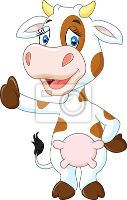 Happy cow giving thumb up isolated on transparent background