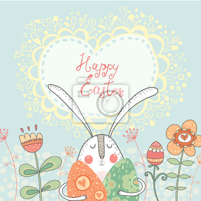 Happy Easter.Funny rabbit with eggs, flowers.