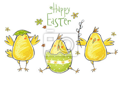 Happy easter greeting card. Cute chicken with text .