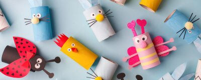 Wall mural Happy easter kindergarten decoration concept - rabbit, chicken, egg, bee from toilet paper roll tube. Simple diy creative idea. Eco-friendly reuse recycle banner, daycare paper craft