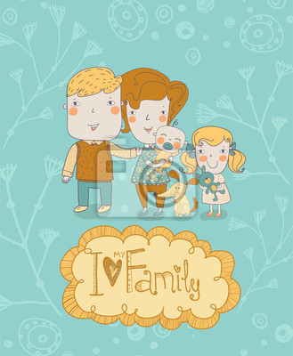 Wall mural Happy family. Concept family background.