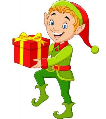 Happy green elf boy holding gifts