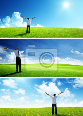 happy man on spring field, set of banners