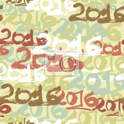 Wall mural Happy New Year 2016 celebration wallpaper seamless pattern.