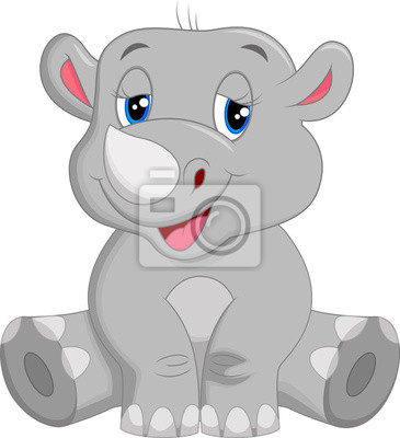 Happy rhino cartoon sitting