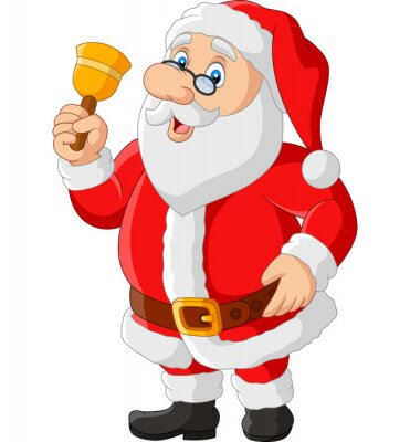 Happy santa claus in glasses holding bell