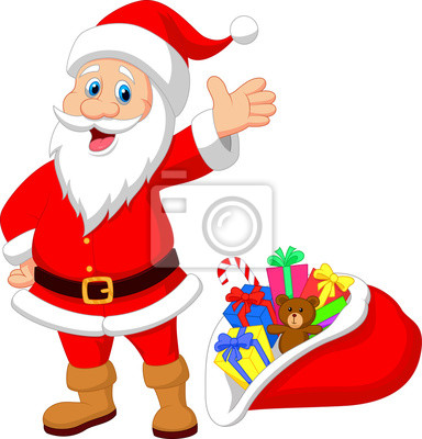 Happy Santa Clause with gift