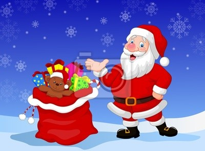 Happy Santa Clause with gift waving hand