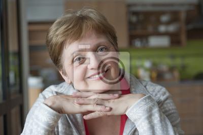 happy senior woman at home resting