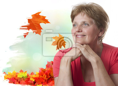 happy senior woman - sixty years old on white background