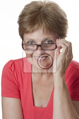 happy senior woman wearing a glasses