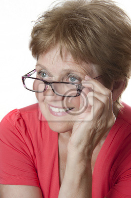 happy senior woman wearing a glasses - sixty years old