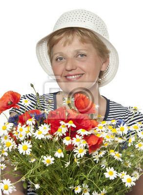 happy senior woman with bunch of flowers