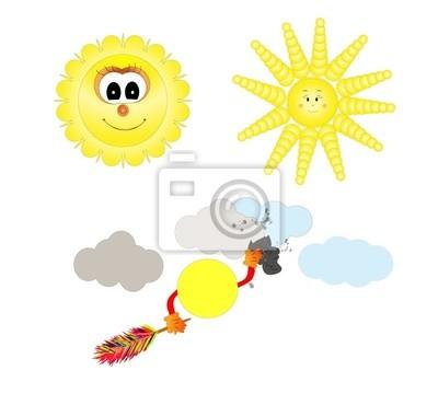 happy sun cartoon isolated over white background