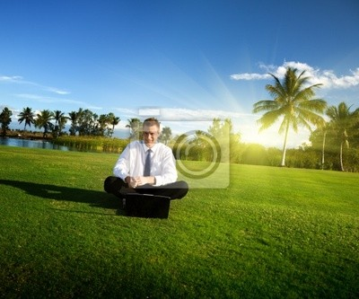 happy young businessman and sunset