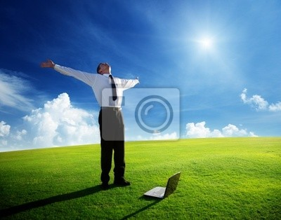 Wall mural happy young businessman on spring field