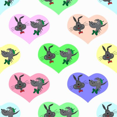 Wall mural hare and a wolf in colored hearts Valentines Day seamless vector pattern
