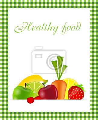 Healthy Food Menu Template Vector Illustration Wall Mural Murals