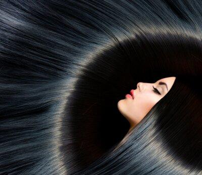Wall mural Healthy Long Black Hair. Beauty Brunette Woman