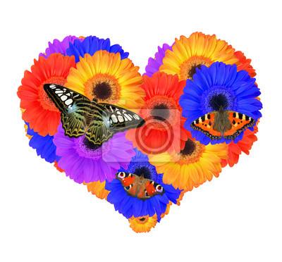 Heart from gerbera flowers with butterflies