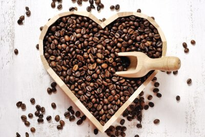 Wall mural heart of coffee beans