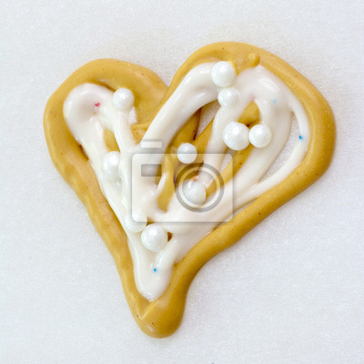 Wall mural Heart Shaped child made candy on paper
