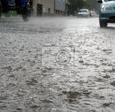 heavy rain on a street
