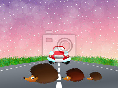 Wall mural Hedgehogs family on the road