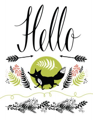 Wall mural Hello postcard cover design. Happy fox and forest herbs, arrows
