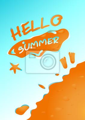 Wall mural Hello summer in sand beach background vector design