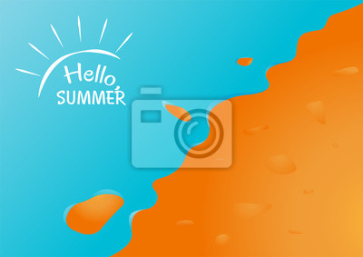 Wall mural Hello summer in sand beach with ocean background vector design