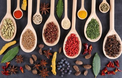 Wall mural Herbs and spices.
