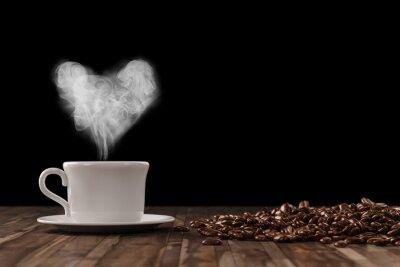 Wall mural Herz aus Dampf über Tasse Kaffee
